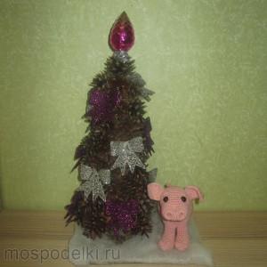 Композиция из елки с символом года