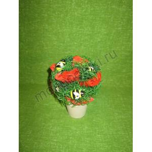 Горшечное растение с розами из мыла