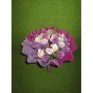 Фиолетовый букет из мыла (17 роз)