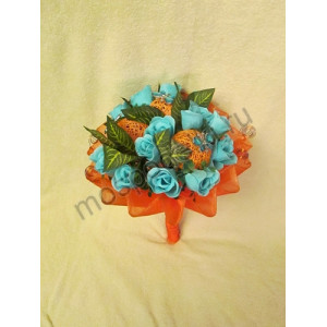 Мыльный букет оранжевый (15 роз)