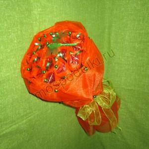 Букет в органзе оранжевый