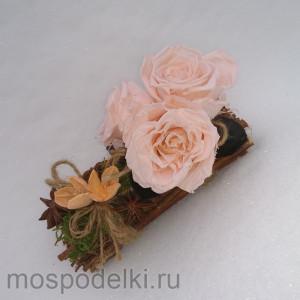 Композиция с живыми (стабилизированными) розами