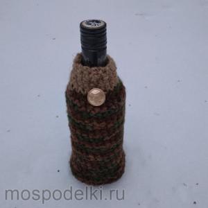 Вязаная упаковка для бутылки ручной работы